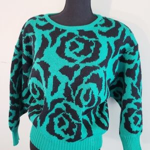 Vintage green and black winter sweater Small